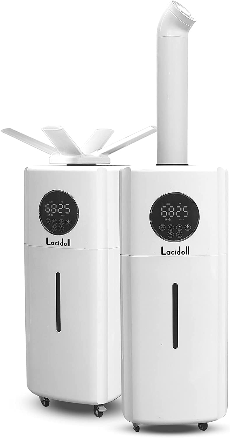 LACIDOLL Large Humidifiers Whole-House Style Commercial&Industrial Humidifier 2000 sq.ft, 5.5Gal Ultrasonic Cool Mist Top Fill Humidifier 21L 2000ML/H Dual 360° Nozzles 3 Speed