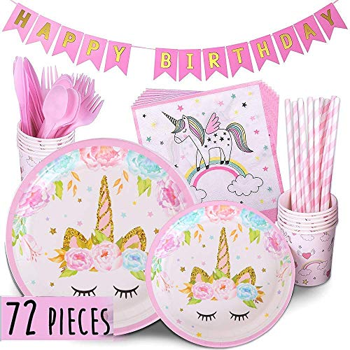Mintbon Unicorn Party Supplies Set Birthday Tableware Set Includes Paper Plates, Cups, Straws, Forks Birthday Banner and Napkins 72pcs