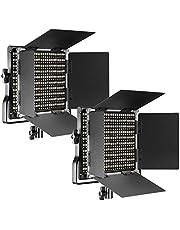 Neewer - 2 Paquetes de Luces de vídeo LED 660 para Estudio, Youtube, fotografía de Producto, grabación de vídeo, Marco de Metal Duradero, con Soporte en U y Puerta de Barra, 3200-5600K, CRI 96+