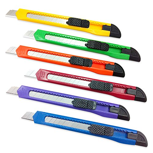 - 6 Pieces with 6 Colors ? Homework2 ? Utility Knife Box Cutter, Retractable Razor Knife Set with Snap Off - Auto Lock Blade