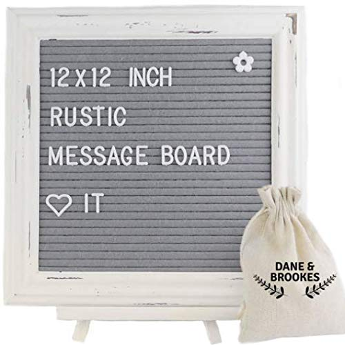 Dane & Brookes Felt Letter Board 12 x 12 inch with Letters + Easel Stand. Changeable Emojis, Numbers and Characters. Rustic Message Board has White Frame & Gray/Grey Felt with Vintage Look ()