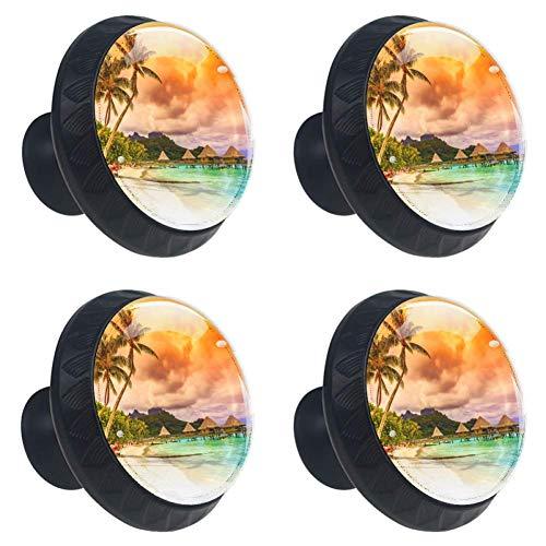 DEYYA 4 PCS Holiday Beach Tropical Palm Tree Sand Crystal Glass Drawer Knob Pull Handle 30mm Ergonomic Circle Furniture Cabinet Handle for Kitchen Dresser Cupboard Wardrobe