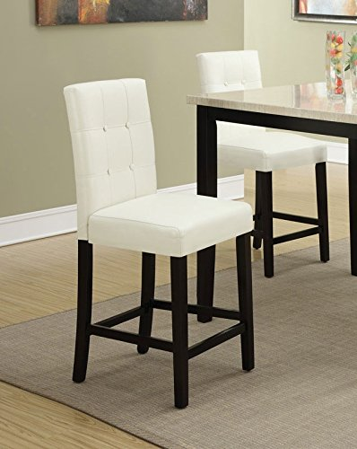 set of 4 bar stools white faux leather parson counter height chairs with high back and four tuft. Black Bedroom Furniture Sets. Home Design Ideas