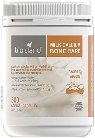 Bio Island Milk Calcium Bone Care 300 Softgel Caps Made in Australia, with one Knot Gift