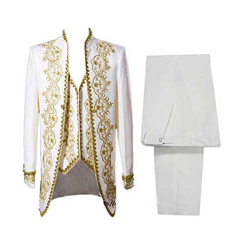Mens Aristocrat Costumes (Mens Jacquard Medieval Tuxedo 18s Renaissance Prince Cosplay Costume White Asian Size M)