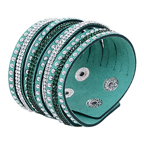 Ameesi Women's Multilayer Rivet Rhinestone Velvet Cuff Bangle Wristband Bracelet Gift - Dark Green
