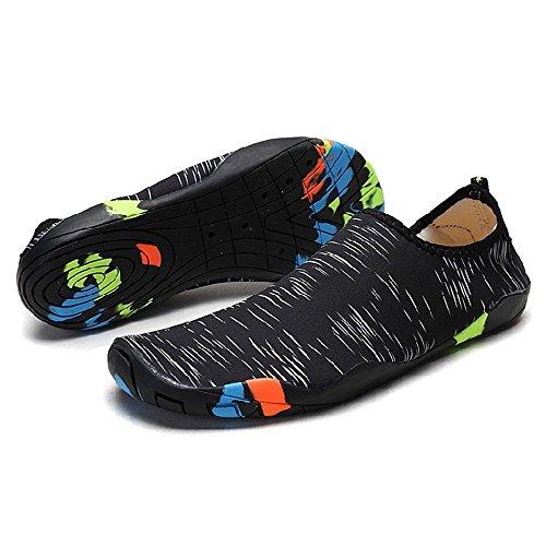 Kobwa Water Shoes Mens Womens Beach Swim Shoes Barefoot Quick-Dry Aqua Socks Ultra-lightweight Fashion Unisex Swim Shoes with 14 Drainage Holes for Beach Swim Surf Yoga Water Exercise Black