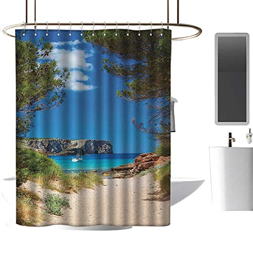 TimBeve Shower Curtain Hooks Beach,View on Cala Algaiarens from Sand Pathway Cliff in Water Menorca Island Europe Theme,Multicolor,Hand Drawing Effect Fabric Shower Curtains 47