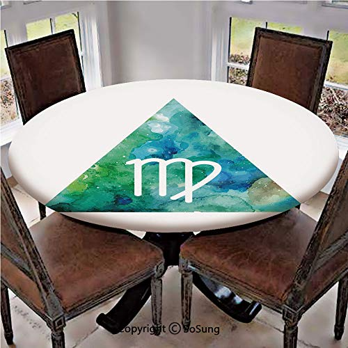 Elastic Edged Polyester Fitted Table Cover,Virgo Watercolor Abstract Triangle Background Ancient Culture Inspiration,Fits up 40