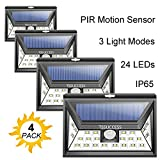Solar Lights Outdoor - Solar Motion Sensor Light - Wall Light 24 LED - Wireless Waterproof Solar Powered LED Lights Outdoor with Wide Angle Illumination - Night Security LED Patio Lights (4 Pack)