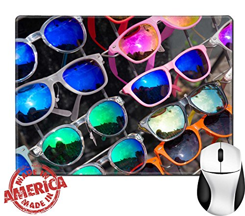 """Luxlady Natural Rubber Mouse Pad/Mat with Stitched Edges 9.8"""" x 7.9"""" bunch of retro style sunglasses on a rack in front of a store IMAGE - Sunglasses A Bunch Of"""