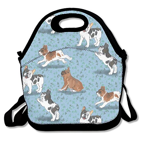 French Bulldogs On Blue Lunch Bag Lunch Tote Lunch Pouch Handbag Made For Women, Men And Kids