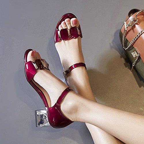 de elegante hebillas siete cm redonda salvaje AJUNR tacón 5 38 de Heels Sandalias de rough Transpirable Moda de y Treinta plata cabeza 58InIRZOq