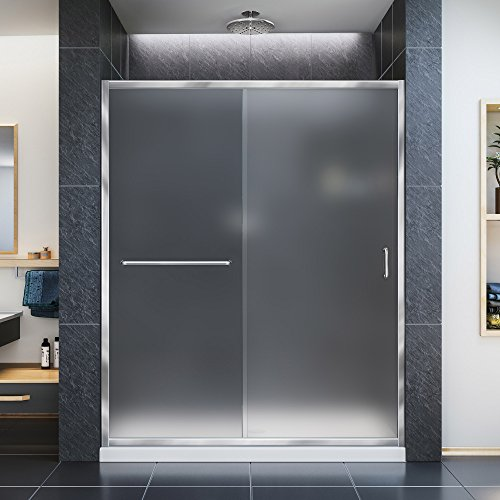 DreamLine Infinity-Z 56-60 in. W x 72 in. H Semi-Frameless Sliding Shower Door, Frosted Glass in Chrome, SHDR-0960720-01-FR