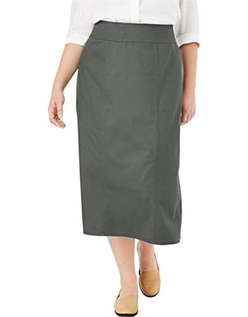 a3b4228cd02e Woman Within Women s Plus Size Smooth Waist A-Line Denim Skirt