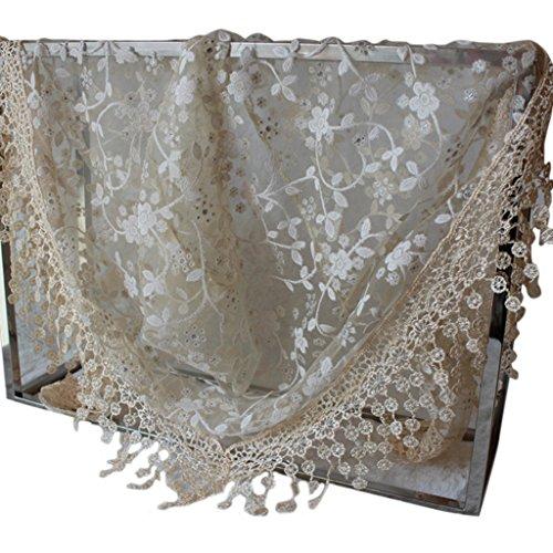 Kofun Triangle Scarf, Women Lace Sheer Floral Triangle Veil Church Mantilla Scarf Shawl Wrap Tassel Beige ()