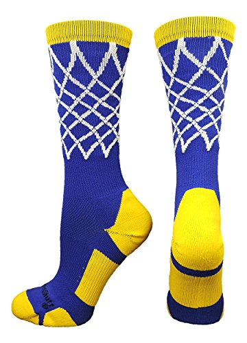 MadSportsStuff Basketball Net Crew Socks (Royal/Gold, Medium)