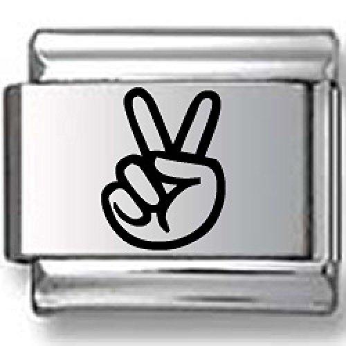 Hand Peace Sign Black Laser Italian Charm