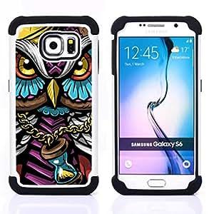 """Samsung Galaxy S6 / SM-G920 - 3 en 1 impreso colorido de Altas Prestaciones PC Funda chaqueta Negro cubierta gel silicona suave (Colorido Búho Gangster"""")"""