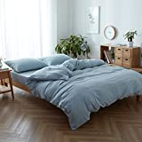 #7: FACE TWO FACE 3-piece Duvet Cover Queen,100% Washed Cotton Duvet Cover ,Ultra Soft and Easy Care,Simple Style Bedding Set (QUEEN, Light blue)
