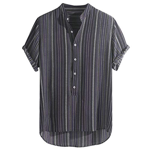 JJLIKER Hawaiian Shirts for Men Short Sleeve Regular Fit Striped Floral Shirts Summer Tees Tops with Pockets Purple