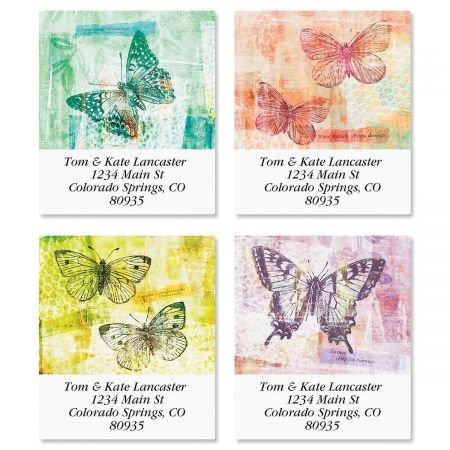 Chroma Butterflies Square Return Address Labels (4 Designs) - Set of 144 1-1/8