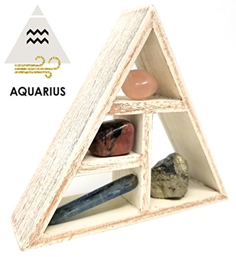 AQUARIUS Zodiac Crystal Healing Set / Tumbled Stones and Wooden Geometric triangle shelf in Gift Box / Astrology Sign Aquarius Birth Stones