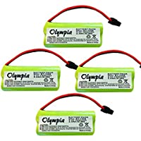 4 Pack of Uniden D1680-4 Battery - Replacement Battery for Uniden Cordless Phone (800mAh, 2.4V, NI-MH)