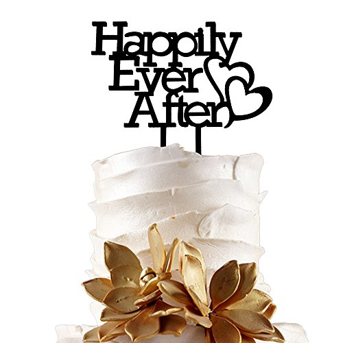JennyGems Wedding & Anniversary Black Acrylic Cake Topper - Happily Ever After - Fairytale Dream Wedding Decoration - Prince and Princess Wedding Theme