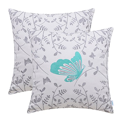 CaliTime Pack of 2 Cotton Throw Pillow Cases Covers for Bed Couch Sofa Cute Butterfly in Gray Garden Embroidered 18 X 18 inches Turquoise from CaliTime