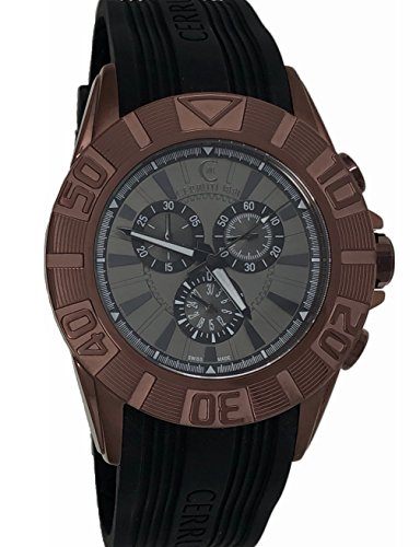 Cerruti 1881 Mens Chronograph Watch Maroon Black with Rubber Strap CRWA042M233Q
