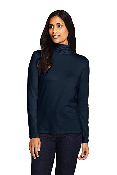 Lands' End Women's Tall Lightweight Fitted Long Sleeve Turtleneck XL Blue best women's turtlenecks