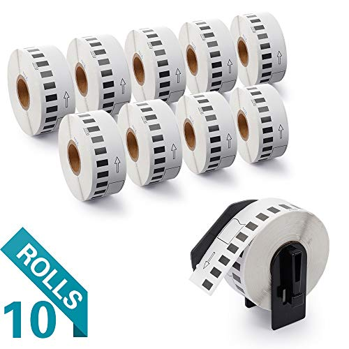 Airmall 10 Rolls Compatible with DK-2210 Continuous Labels, 1-1/7 x 100, Replacement for Brother QL-500 700 710W 820 NWB Printer (100/ Roll)