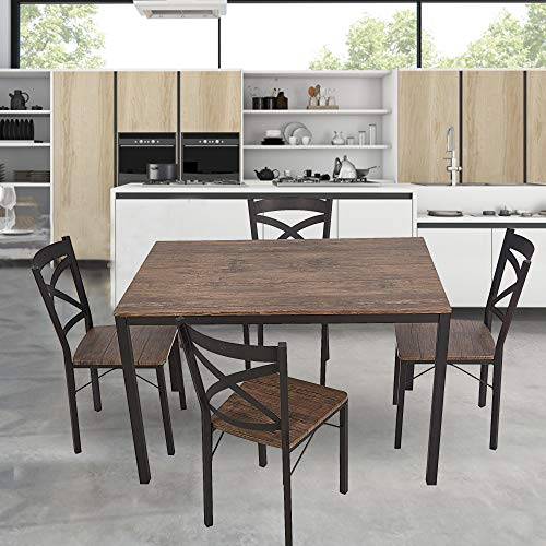 Dporticus 5-Piece Dining Set Industrial Style Wooden Kitchen Table and Chairs with Metal Legs- Espresso by Dporticus (Image #4)
