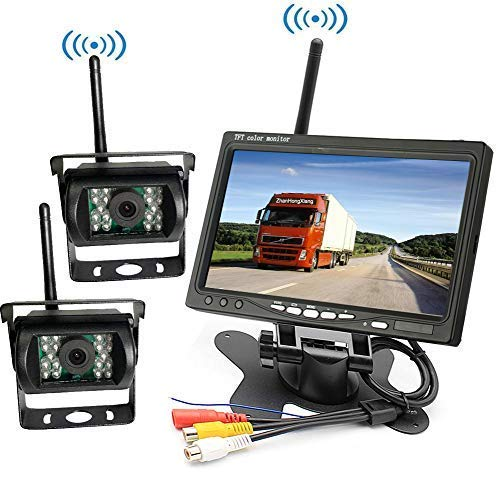 Wireless Vehicle Backup Camera Kit 12V/24V,2 x 18 LED IR Night Vision Waterproof Rear View Camera + 7