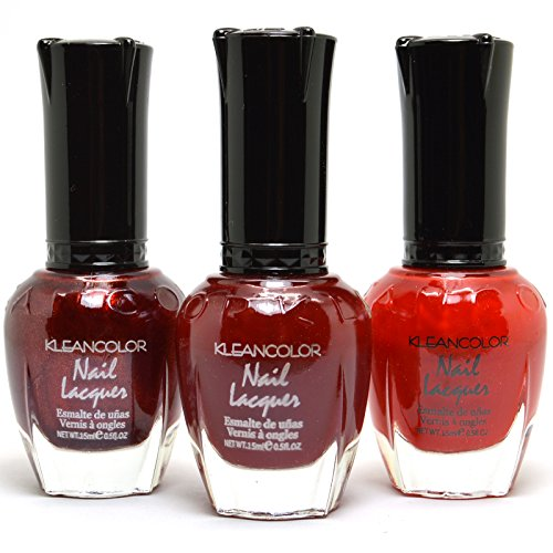(3 Kleancolor Nail Polish Jewelry Blood Light Red Collection Lacquer 3SET68 + Free Earring)