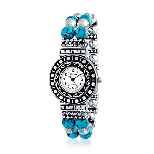 Bling Jewelry Silver Plated Blue Beaded Stretch (Turquoise Stone Stretch Band Watch)