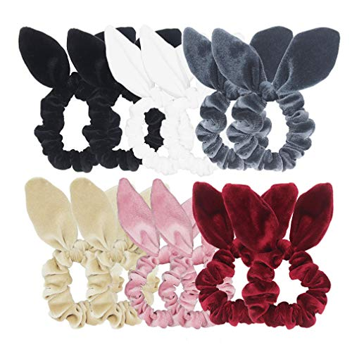 Pack of 12 Bunny Ear Hair Scrunchies Velvet Scrunchy Bobbles Elastic Hair Bands (Popular Mix Colors) by SUSULU