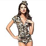 Slocyclub Women Zipper Front Camo Jumpsuit Halloween Costume - onesize - Camo