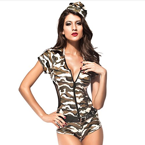[Slocyclub Women Zipper Front Camo Jumpsuit Halloween Costume, onesize, Camo] (Spirit Walker Costume)
