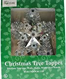 Retro Christmas Tree Topper Silver Tinsel Star with Blinking or Steady Mult-Color Multi-Setting Lights