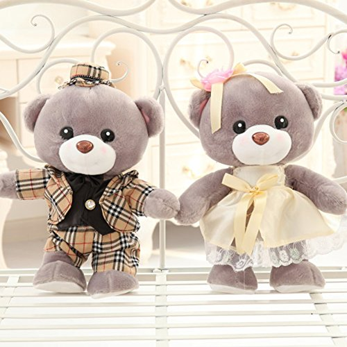 YXCSELL 1.5 FT Gray Couple Wedding Cute Soft Plush Stuffed Animals Small Teddy Bear Marriage Costumed Wedding Party Gift Teddy (Couple Games For Kitty Party)