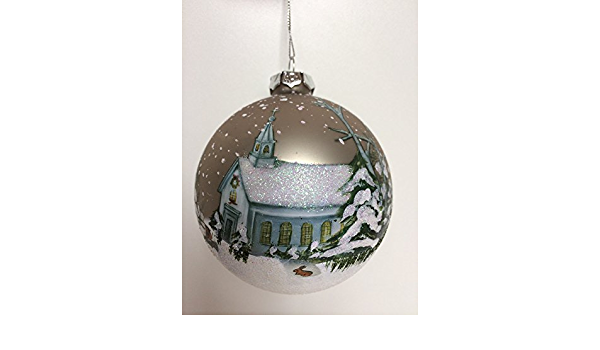 Winter Church Scene Glass Ball Ornament By Midwest Cbk Home Kitchen