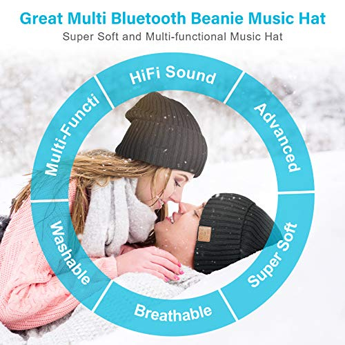 Bluetooth Beanie Hat Gifts for Men, Stocking Stuffers for Men and Women Knit Hat Gifts for Women Blueetooth Hat with…