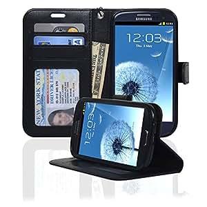 Navor Samsung Galaxy S3 Deluxe Book Style Folio Wallet Case (Black)