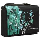 Sparse Floral 15.4-Inch Laptop Notebook Padded Compartment Shoulder Messenger Bag - Midnight Green