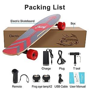Caroma Skateboard électrique 70 cm Skateboard électrique avec moteur, planche électrique, planche en bois d'érable, moteur 350 W   portée 7 km, vitesse maximale 20 km/h