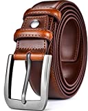 Beltox Fine Men's Casual Leather Jeans Belts 1 1/2' Wide 4MM Thick Alloy Prong Buckle Work Dress Belt for Men(Brown Belt with Silver Buckle,40-42)