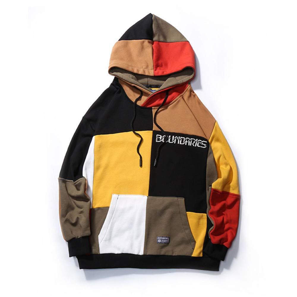 ASQXYFCT Männlich Hoodie Original Street Farbe Passende Farbe Student Langärmelige Hip Hop Lose Paar Tops,Bild,M