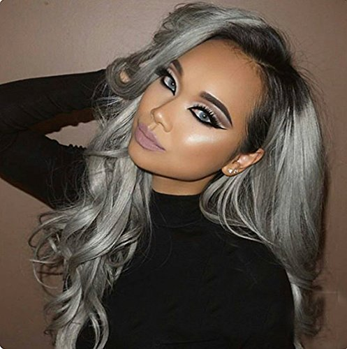 Platinum Blonde Peggy Sue Wig (Ombre Black Gray loose Wave Heat Resistant Wig medium Part 130% High Density for Women (22inch, Lace Front Wig))